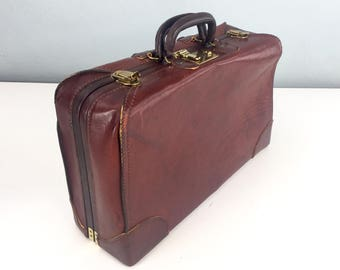 Brown Leather Suitcase for Man Cave Home Decor, Travel, or Storage, Premium Top Grain Cowhide, Vintage Leather Suitcase