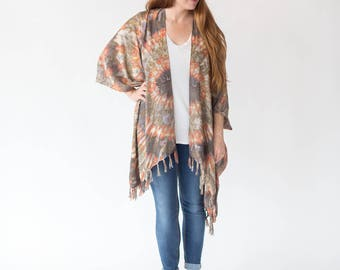 Fire Agate Kimono | Womens OneSize Plus, Bohemian Mandala Sarong, Turquoise, Comfy Robe, Stylish, Lightweight, Spring, Fall, Summer Wear