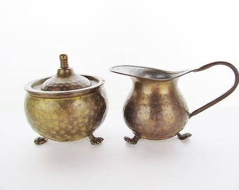 Vintage Footed Hammered Brass Sugar and Creamer Set  # F05