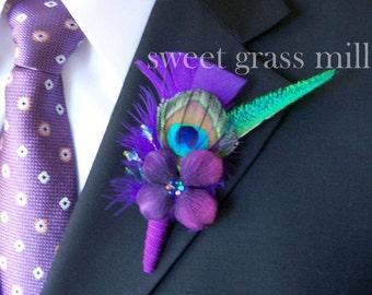 Peacock Purple Feather Boutonniere - REGENT Boutonniere