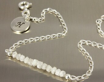 RAW Rohdiamant - Silber Armband mit weißen Diamanten und erste Scheibe - personalisierte Tag - Armband, Monogramm