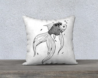 "Line Drawing Of Goldfish With Flower Crown Illustration Pillow Case 18""x 18"""