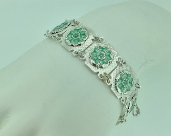 Sterling Silver Lady's Custom Made Plaque Bracelet at an Affordable Price