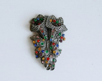 1930s multi-color rhinestone pot metal brooch / 30s vintage large floral pin