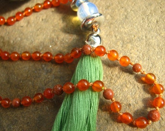 108 mala necklace, Japa Mala, Carnelian mala necklace, knotted mala beads necklace, prayer beads, mala beads 108, mala tassel necklace