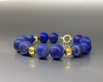 Bracelet with Lapis Lazuli beads and 14K gold plated elements - gift idea  - AA + Grade afghan Lapis - statement bracelet - big beads