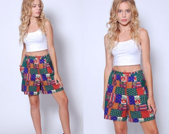 Vintage 80s PATCHWORK Shorts Printed Casual Fit Shorts 80s FLORAL Shorts HIGH Waisted Shorts