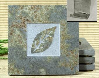 Leaf - Real Etched Slate Coaster Set with Holder