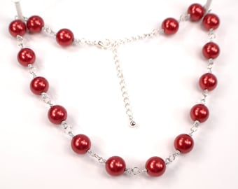 Red Pearl Necklace, Red Necklace, Pearl Bead Link Strand Necklace, Wire Wrapped Pearl Necklace, Red Party Necklace (N662)