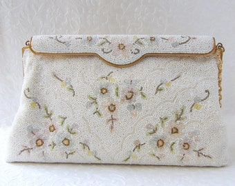 Vintage French Beaded Handbag White Glass Bead Wedding Purse Designer C. & M. Caron Hand Made In France Formal Bridal Evening Bag Flowers