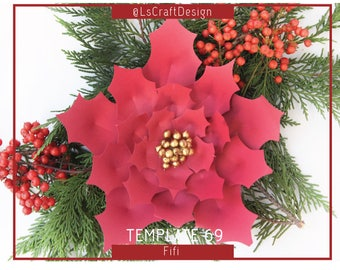 Giant Paper Flower, PDF Paper Flowers, ChristmasDecor, Paper Poinsettia Flower, Christmasflower, Base/Instruction Including