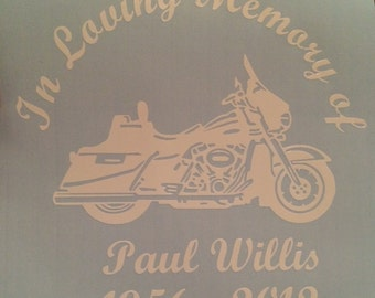In Loving Memory Motorcycle Sticker Vinyl Decal