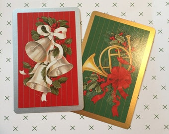 Vintage Christmas Playing Cards Set of 2 Bridge Poker