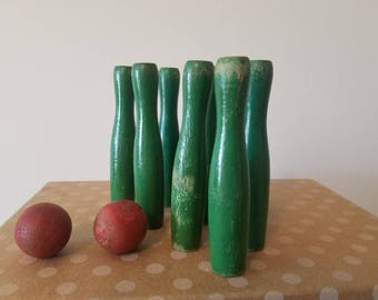 strike - wooden bowling set, vintage child's toy, lovely red and green display