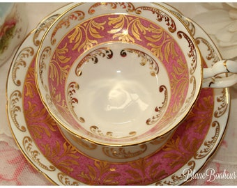 Royal Grafton, England: Pink tea cup & saucer with gold gilding