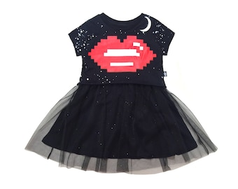 Organic Girls dress , Little girls dress , Lips dress  , Lips , Girls dress
