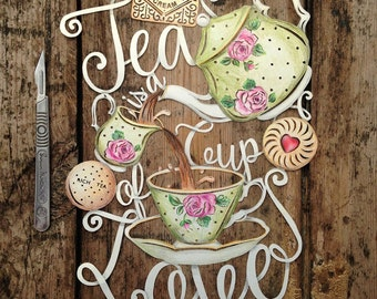 Papercut Template 'Tea is a Cup of Love' Friendship Gift PDF JPEG & SVG file for Silhouette Cameo or Cricut