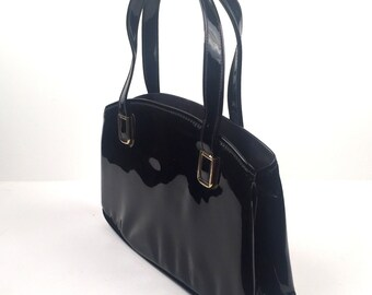Vintage 1960s Cara Black Patent Leather Top Handle Handbag