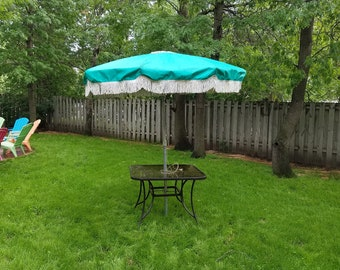 Groovy Turquoise Fringe Patio Umbrella