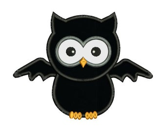 Applique Halloween Owl Bat Machine Embroidery Designs 4X4 and 5X7 Included - Instant Download Sale