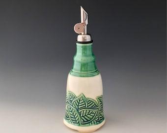One of a Kind Handmade Ceramic Olive Oil Bottle, Oil Cruet, Oil Dispenser by NorthWind Pottery