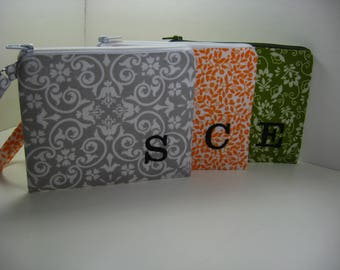 Set of 3 Personalized Bridesmaid Gift - Clutch- Zipper Pouch- Personalized Wristlet - Chevron - Small