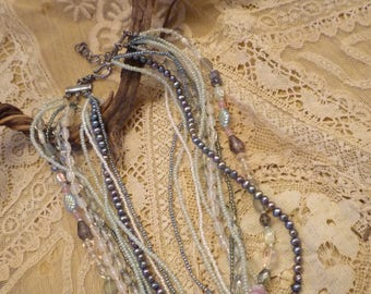 Ten strand beaded necklace and bracelet set