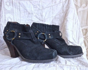 SUMMER SOLSTICE SALE Black Suede Stacked Heel Harness Boots Size 8.5