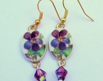 Vintage Painted Flower Cameo Earrings, Hand Crafted Cameos, Dangling Vintage Glass Purple Flowers,Swarovski Crystal beads, Nickel Free, OOAK