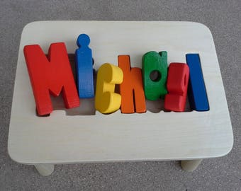 Handmade Personalized Name Puzzle Stool