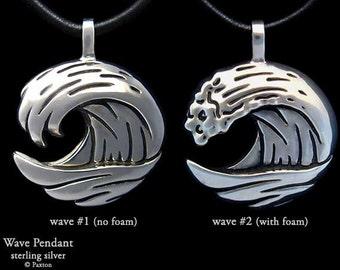 Ocean Wave Pendant Necklace Sterling Silver