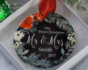 First Christmas as Mr and Mrs Ornament 2018 Personalized - Gifts for Newlyweds - Newlywed Custom Ornaments - 1st Christmas Married Ornaments