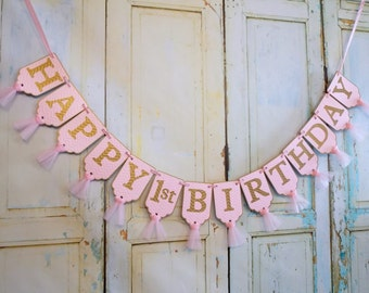 Happy 1st Birthday Banner, Chevron Embossed Pink and Gold Banner with Tulle, Girls First Birthday Banner, Pink and Gold Birthday Decorations