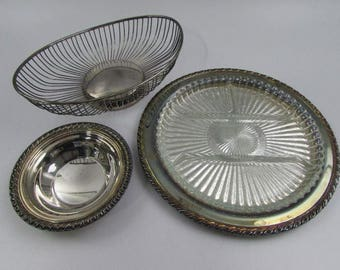 Silver Plated Serving Pieces, Bread Basket, Relish Tray, Bowl, Oneida, Leonard and Rogers