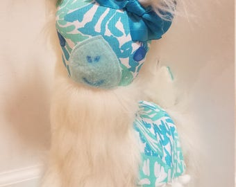 Llama made with Lilly Pulitzer fabric