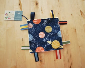 6-inch Outer Space / Solar System / Planets Baby Crinkle Square / Sensory Toy with Ribbon Tags