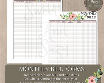 Monthly Bill Form / See all your bills for the entire year / Quick reference of bills, payments etc.