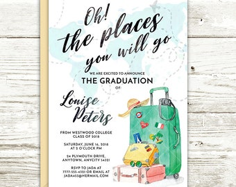 Travel Theme Wanderlust Luggage Traveler Oh the Places You Will Go Invite, Graduation Printable Party Invitation