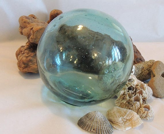 "Vintage 13"" In Circumference Japanese GLASS FISHING FLOAT.. Sky Blue & Many Bubbles  (#30)"