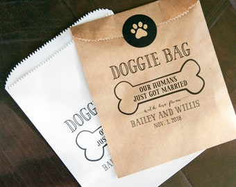 Doggie Bag - Personalized Birthday or Wedding Favor Bag - Custom Printed Wax Lined Paper Bags - 20 White or Kraft Favor Bags
