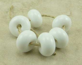 6 Opaque White Lampwork Spacer Beads > Lampwork Spacer Bead Set - SRA - I ship Internationally