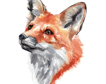 Fox Watercolor Print / Watercolor Fox Art Print / Fox Face / Woodland Art / Watercolor Woodland / Fox Nursery / Hunting Art