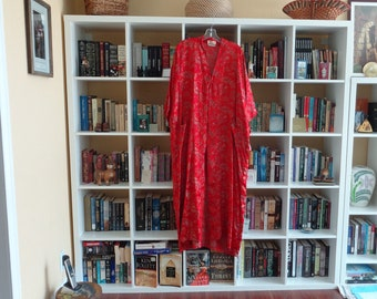 VINTAGE Red and Gold Rayon Kimono by Longevity Hangzhou China - available