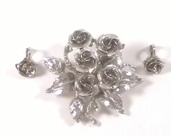 Vintage Silver Tone Rose Brooch and Earrings - Flower Roses Bouquet Pin Jewelry Set 1960s