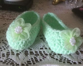 3 inch baby booties in light green