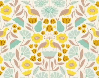 1/2 Yard Organic Cotton Fabric - Cloud 9 Fabrics, Park Life, Victorian Afternoon Gold