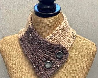 Hand Knitted Buttoned Neck Warmer in Caron Sprinkle Cakes Pecan Fudge Item# KNW116174 ***FREE SHIPPING***