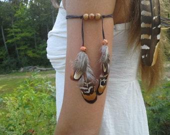 Real Feather, Armband, upper, arm, Feathers, band, Warrior, tribal, woodland, armlet, boho, costume, feather armband