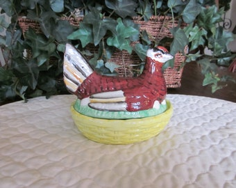 Antique Staffordshire Hen On A Nest