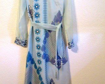 Vintage ALFRED SHAHEEN 1960's Floral Print Blue Maxi Dress Size 8 Tunic Mid Century Mod Dress